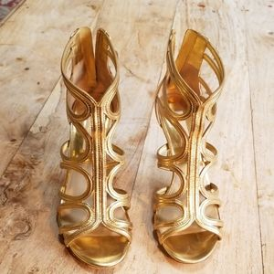 Michael kors  gold gladiator  heels